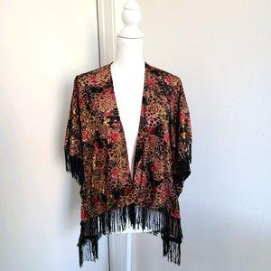 Mauve Black Boho Floral Fringed Kimono large